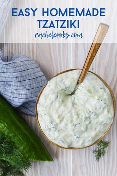 Creamy homemade tzatziki, an authentic Greek cucumber yogurt sauce, is easy to make and so delicious! Use tzatziki in a variety of ways, as a dip, dressing, or sandwich spread. Vegan Tzatziki, Tzatziki Recipes, Homemade Tzatziki, Tzatziki Sauce, Dip Recipes, Sauce Recipes, Cooking Recipes, Grilled Vegetables, Grilled Meat