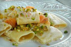 Paccheri in crema di Salmone e Pistacchi, ricetta facile e veloce, primo piatto con crema al salmone senza panna, pistacchi. ricetta light, senza olio