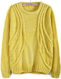 Yellow Long Sleeve Cable Knit Loose Sweater EUR€24.24