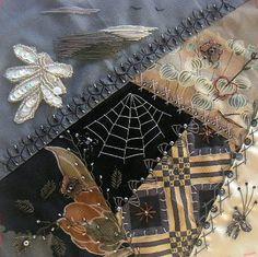 I ❤ crazy quilting, beading & embroidery . . . Monochrome: finished ~By Hideko Ishida