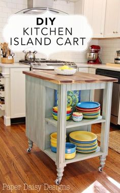 DIY Kitchen Island Cart - While you're cooking, a wheeled cart is as helpful as a big island, but can roll out of the way when you're done.