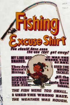 Fishing Excuse Shirt Vintage Iron On Heat Transfer by VintageIronOn on Etsy