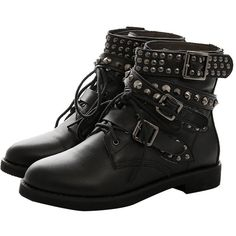 MONICOCO Women's Low Square Heel Big Size Shoes Buckle Punk Studded... ($42) ❤ liked on Polyvore featuring shoes, boots, ankle booties, low boots, chukka boots, low ankle booties and studded boots