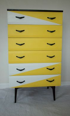 Vintage Retro Mid Century Modern Meredew Chest of Drawers Tallboy Danish style
