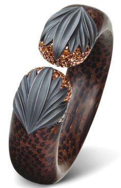 Bracelet Bois de Palmier, Diamants, Argent, Or Blanc © Hemmerle