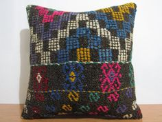 Turkish Kilim Pillow 18 x 18 Decorative Pillow Turkish Pillow Vintage Kilim Bohemian Pillow Kilim Lumbar Home Decor Pillows