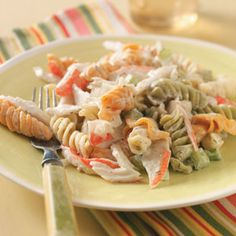 Pasta Crab Salad- my changes were to swap green onion for regular onion. Added 2 cups frozen peas-carrots blend. I also used regular mayo because my home does not purchase light mayo; it's an oxymoron! :D