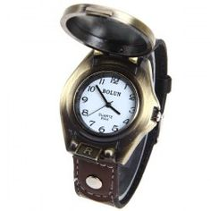 $4.40 Bolun Quartz Watch with Arabic Numbers Indicate Leather Watchband for Men (Coppery)