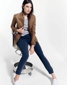 J.Crew women's Regent blazer and Turner pant. To preorder call 800 261 7422 or email erica@jcrew.com.