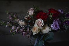 Lavender roses, crimson heart roses, quicksand roses, unique bridal bouquet by Foxglove Studio Calgary, photography Tasha Barrie