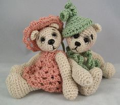 Olivia and James, miniature crocheted artist bears, 3 inches tall