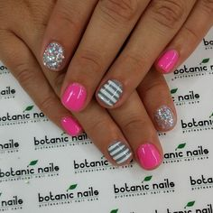 Hot pink, gray, white, silver