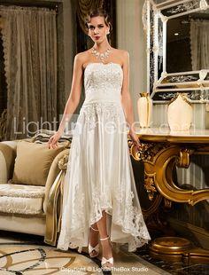 Sheath/Column Strapless Scalloped-Edge Asymmetrical Tulle Wedding Dress - USD $ 129.99 (For Jassie)