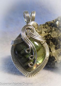 Labradorite Wire Wrapped Pendant by superioragates on Etsy, $45.00