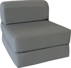 "Gray Sleeper Chair Folding Foam Bed Sized 6"" Thick X 32"" Wide X 70"" Long, Studio Guest Foldable Chair Beds, Foam Sofa, Couch."