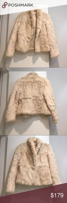 Vintage Dyed Rabbit Fur Coat This is a beautiful dyed rabbit fur coat with single button closure by Mademoiselle. It is in perfect condition with one tiny pelt of fur missing off the bottom of the sleeve on the back left arm (pictured in 4th photo) Jackets & Coats