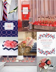 Pink Cupcake Weddings--navy blue and coral wedding color inspiration board