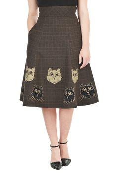 Cat applique wool blend plaid skirt