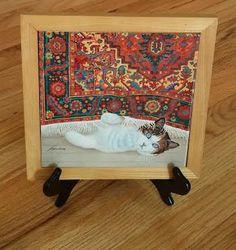 1982 Lowell Herrero Framed Tile - Cat under Rug - with Hanger by EleganceFromBillie on Etsy