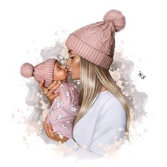 Mother And Daughter Drawing, Mother Art, Mutterschaft Tattoos, Scrapbooking Image, Baby Girl Drawing, Pregnancy Art, Girly M, Drawings Of Friends, Girly Drawings
