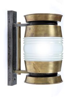 Large 1940's Brass & Glass Barrel Wall Light | Rose Uniacke