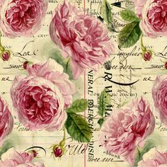 English Rosey Words fabric by peagreengirl on Spoonflower - custom fabric