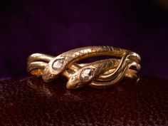 1890-1900s Victorian Double Snake Ring with Rose Cut Diamonds