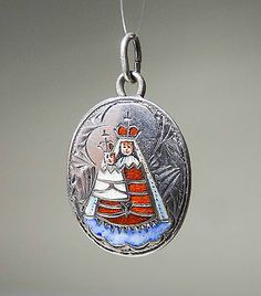 JUGENDSTIL ANHÄNGER MUTTERGOTTES Silber ART NOUVEAU VIRGIN MOTHER CHARM A529