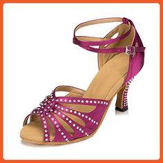 b96c58933c9d6 Miyoopark Women s Ankle Strap Crystals Purple Satin Latin Tango Salsa Dance  Shoes Bridal Wedding Sandals US