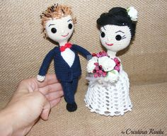 Wedding couple, amigurumi dolls Bride/Groom, special gift crochet toy, white gown bleumarine suit doll Groom Bride, anniversary gift toy