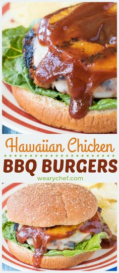 These sweet and savory Hawaiian Chicken BBQ Burgers will take your cookout to the next level! Seasoned chicken burgers are topped with sliced ham, melted cheese, a pineapple ring, and a generous drizzle of BBQ sauce. The flavor is out of this world! Thanks to my sponsor @stubbsbbqsauce !