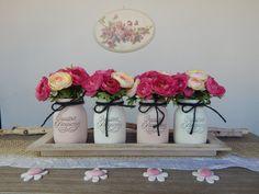 "Vasi dipinti ""FIORI di RANUNCOLO"" Set 4 barattoli + vassoio + fiori - Primavera - Centrotavola - Cerimonie - Painted jars Flowers Ranuncolo di LUCIDELNORD su Etsy"