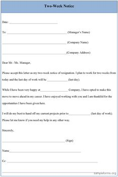 daycare 2 week notice letter