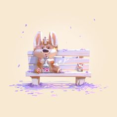 Illustration, animation and game art created by Lynn Chen (Qianliu Chen). Animal Sketches, Animal Drawings, Cute Drawings, Cute Corgi, Corgi Dog, Cute Animal Illustration, Illustration Art, Corgi Drawing, Cute Creatures