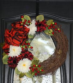 Black and Red Fall Wreath by hgab129 on Etsy, $45.00