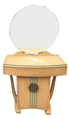 French 1930's Art Deco dressing table in beautiful sycamore.