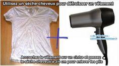 Utilisez un sèche-cheveux pour défroisser un vêtement 1. Accrochez le vêtement sur un cintre. 2. Passez le sèche-cheveux à 3/4 cm pour enlever les plis. Faites attention à ne pas brûler le vêtement ! Cette astuce fonctionne à merveille sur des vêtements en coton.  Sachez que c'est plus efficace si le sèche-cheveux a un embout en plastique. Et si le sèche-cheveux a une fonction pour souffler de l'air froid (au lieu de l'air chaud), ça permet d'éviter que les froissures ne reviennent trop… Cleaning Recipes, Hair Dryer, Household, Good Things, Couture, Simple, Beauty, Voici, Buffer