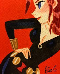 Black Widow #gouache #watercolor #blackwidow by elsasketch