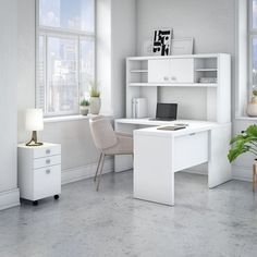 For a contemporary, well-organized home office, choose the Office by kathy ireland Echo L Shaped Desk with Hutch and Mobile File Cabinet . Office Set, Home Office Desks, Home Office Furniture, Office Decor, Small Office, White Office, Furniture Ideas, Office Ideas, Furniture Design
