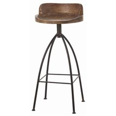 Rustic marries industrial with this tall natural iron barstool with swivel wood seat in natural wax finish for counters and bars http://www.bellacor.com/productdetail/arteriors-home-2747-hinkley-sandblast-antique-wax-barstool-1395501.htm?partid=social_pinterestad_1395501