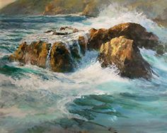 Pure and Holy, Without Blemish by Gil Dellinger Watercolor ~ 24 x 30 Seascape Paintings, Nature Paintings, Landscape Paintings, Painting Trees, Cool Drawings, Waves, Watercolor, Pure Products, Artwork