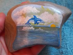 Items similar to Jumping Dolphin Acrylic Hand Painted Rock on Etsy