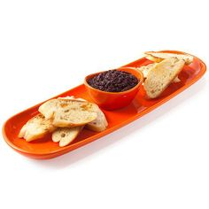 Give this as a hostess gift: my new baguette tray with a dipping cup for butter, oil or tapenades.