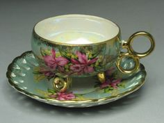 gorgeous ---- 3 footed TEACUP -- Vintage Lace pattern with lovely pink orchard design - ROYAL HALSEY Fine China
