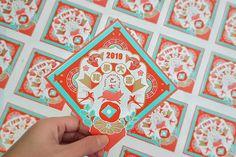 Gfx Design, Layout Design, Graphic Design Pattern, Print Design, Chinese New Year Design, Chinese Artwork, New Year Designs, Envelope Design, Vintage Typography
