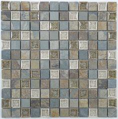 "Euro Glass  1"" x 1"", 1"" x 1"", Bluegreen Wash TS902, Tumbled, Grey, Glass and Stone"