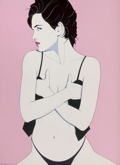 Pin-up and Glamour Art, PATRICK NAGEL (American, 1945-1984). Covering Up, pin-upillustration, 1983. Acrylic on canvas. 40 x 29 in.. Signedlowe... (Total: 1 Items) Image #1