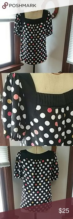 """ALFANI 100% Silk Blouse, New, Polka Dot, Size 10 This top is new no tags, never worn or laundered, fun Polk Dott pattern, coral, red, yellow, white and tan dots on  black. Nice yolk and neck detail. APPROX FLAT MEASUREMENTS: Length 26"""" Chest 20"""" Shoulder  15"""" Alfani Tops Blouses"""