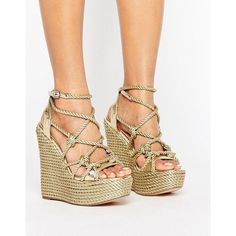 KG by Kurt Geiger Notty Stacked Wedge Sandals ($195) ❤ liked on Polyvore featuring shoes, sandals, wedge sandals, ankle strap sandals, metallic sandals, metallic wedge sandals and ankle tie wedge sandals