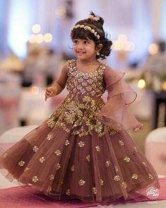 a10384e19ec7 Kids Frocks Design, Kids Lehenga, Baby Lehenga, Frock Design, Baby Gown,